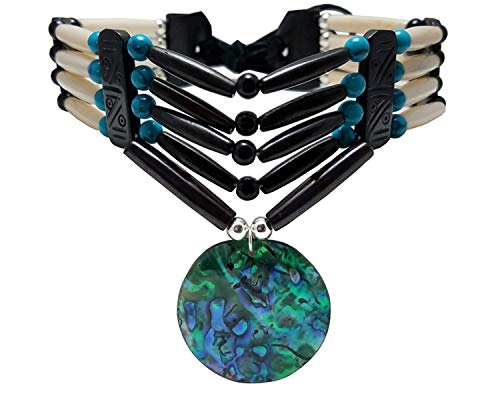 Traditional 4 Row Buffalo Bone Hairpipe Beads Tribal Choker Necklace with Abalone Pendant
