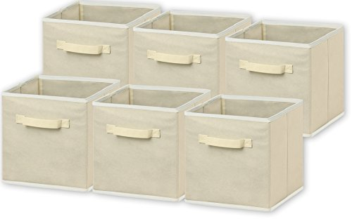 "6 Pack - SimpleHouseware Foldable Cloth Storage Cube Basket Bins Organizer, Beige (11"" H x 10.25"" W x 10.25"" D)"