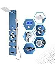 """Blue Ocean 52"""" Stainless Steel SPS392H Shower Panel Tower Column with Rainfall Shower Head, 8 Adjustable Nozzles, and Spout"""