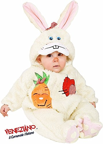 Italian Made Deluxe Baby Girls Boys Cream Unisex Easter Bunny Rabbit Animal Fancy Dress Costume Outfit (3-6 months)