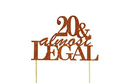 All About Details Copper 20 & Almost Legal Cake Topper - 20th Birthday Decorations