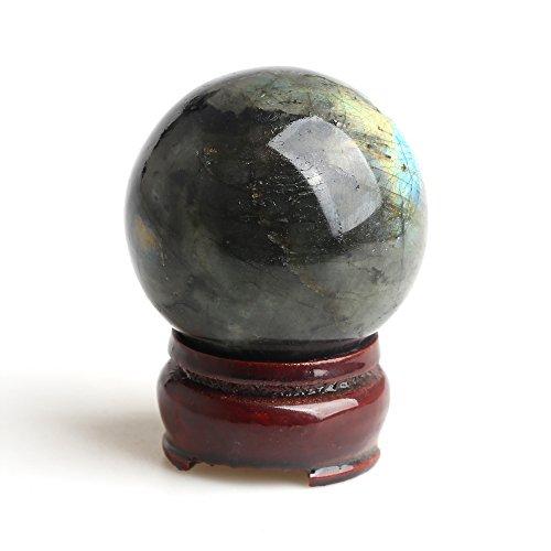 HongJinTian Natural Powerful Labradorite Gemstone Ball Sphere APPROX.1.57inches