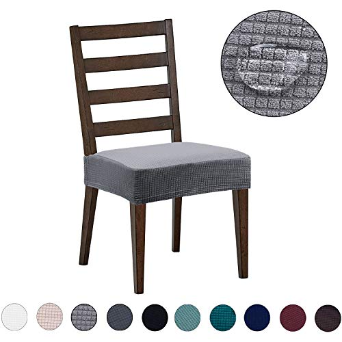 Dining Chair Covers(4 Pack) - Water Repellent,Easy to Install,High Stretch - Dining Room Chair Seat Slipcover/Protector/Shield for Dog Cat Pets,Light Grey Dining Room Set Recliner