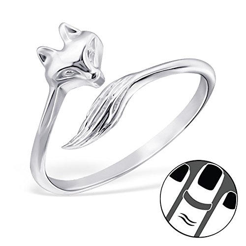 Pro Jewelry 925 Sterling Silver Fox Above Knuckle Ring Mid Finger Top 6587