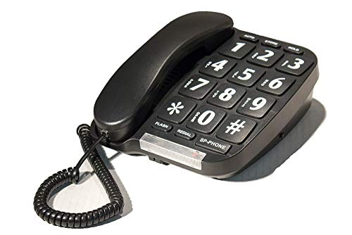 Big Button Phone for Wall or Desk with Speaker and Memory (Black)