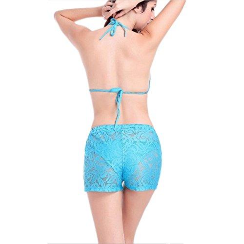 Lace Lace Beach Shorts Beach Shorts No incluye bikini ( Color : Blanco , Tamaño : One size ) Azul