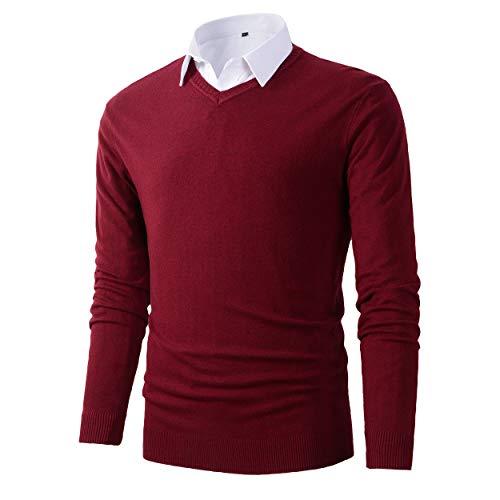 Mens Casual Basic Designed V-Neck Pullover Sweater