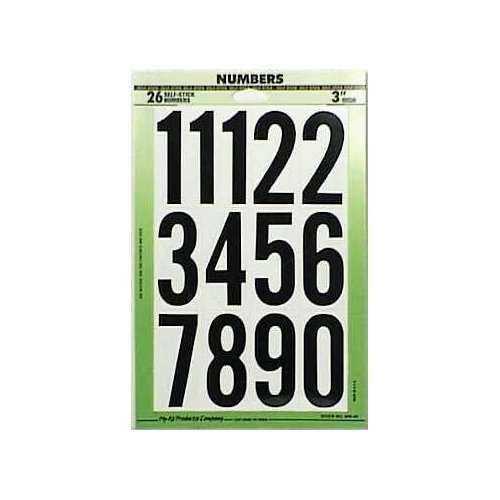 Black Vinyl Numbers, 3'',Pack of 10