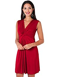 Womens Casual Party Twist Knot Front Midi Sleeveless A-Line Tank Dress Plus Size
