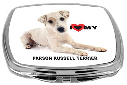 Parsons Mirror - Rikki Knight Dog Design Compact Mirror, I Love My Parson Russell Terrier, 17 Ounce