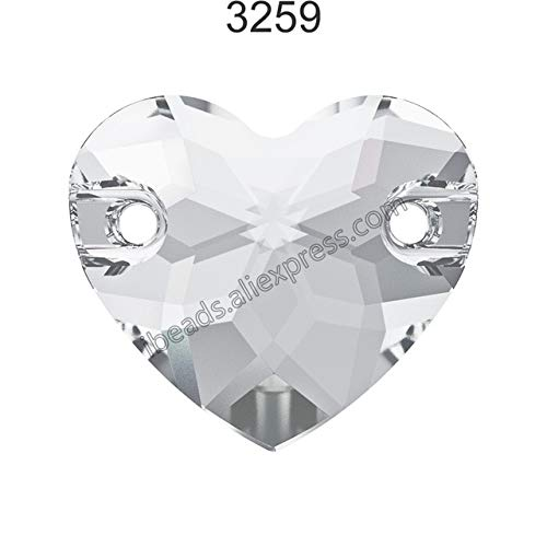 Pukido (1 Piece) 100% Original Crystal from Swarovski 3259 Heart sew-on Rhinestone with 2 Holes for DIY Jewelry and Clothing Decoration - (Color: Crystal 001 F, Item Diameter: 12mm)