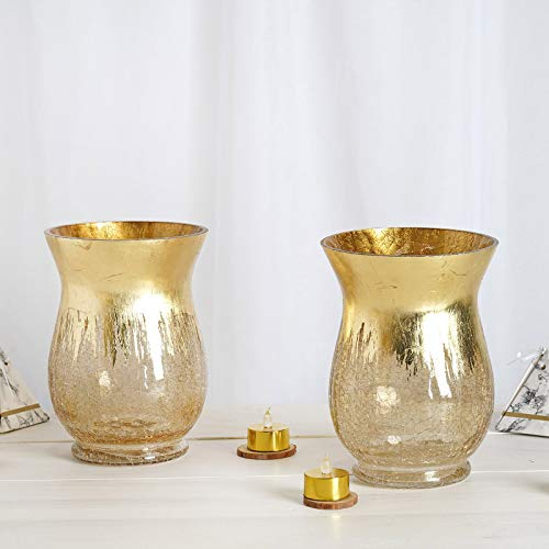 "Efavormart Pack of 2 8"" Tall Handmade Gold Foil Crackle Glass Vases Hurricane Candle Holders"