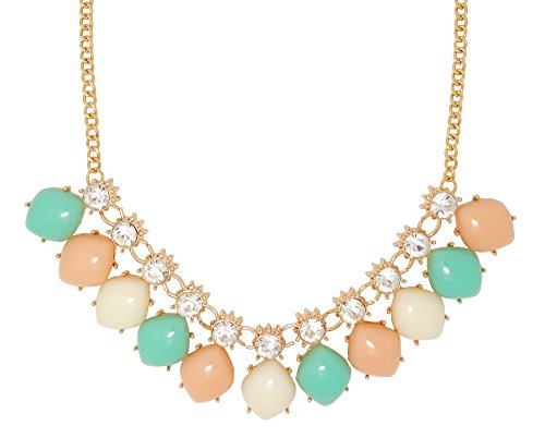 Jaysa Collection Pastel Pink Jelly Beans Necklace With Clear