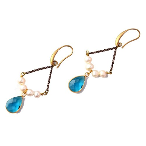 Crimmy-Pearl Light Blue Drop Inlaid Quartz Deigner's Earring-Vintage - Quartz Pearl Blue