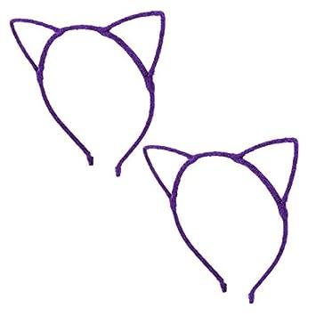 Oído eDealMax poliéster Mujeres de las señoras del gato al aire Libre Diseño Hairband del ornamento