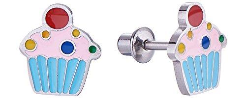 Screw Back Sprinkle Cupcake Girls Cute Stud Earrings for Kids by Regetta Jewelry - Stainless Steel for Sensitive Ears - Screwbacks Stays Secure in Kids Ear