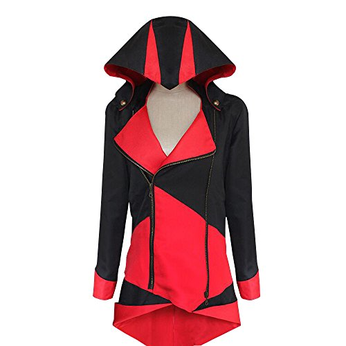 Red Assassin Costume (Windbreaker Hoodie Outwear Cosplay Jacket - Perfect Long Sleeves Anime Cosplay Costume For Cosplay Theme Activities,Halloween, Concerts, Theme Parties and Dating (Medium, Black Red))