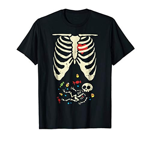 Skeleton Pregnancy Halloween Costume Shirt Candy Son Mom ()