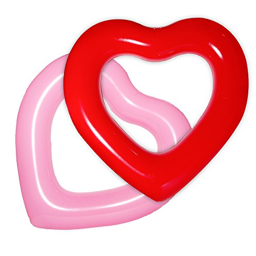 DMAR Swim Ring Inflatable Rubber Ring Giant Pool Float Party Toys Red Pink Heart