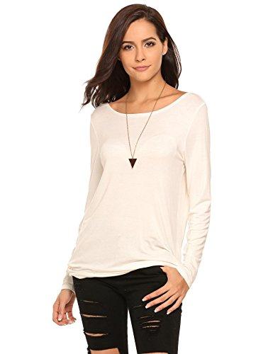 Backless Drape (Zeagoo Women's Long Sleeve Backless Drape Cut Out Back Plain Loose T-Shirt(White-XL))