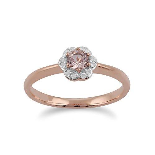 Gemondo Morganite Ring, 9ct Rose Gold 0.18ct Morganite & Diamond Floral...