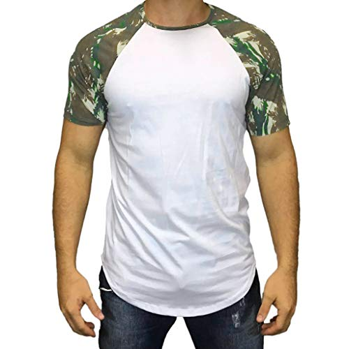 POQOQ T-Shirt Mens Premium Fitted Short-Sleeve Crew T-Shirt Men's Heavyweight Cotton Short Sleeve Crew Neck T-Shirt L White ()
