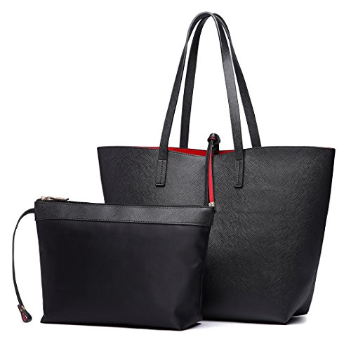 Miss Lulu Women Reversible Tote Bag Faux Leather Shoulder Handbag Large Shopper Set (6628 Black)