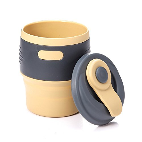 July miracle silicone folding coffee cup leakproof lip, reusable Travel Camping Hiking Backpack outdoor coffee cup