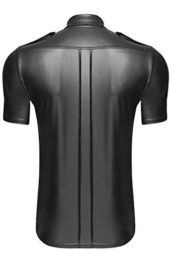 camiseta Hecho Wet Effect Hombres mano a en Polo Material Lencer Shirt camiseta con botones At negro H011 g4Y7wwx