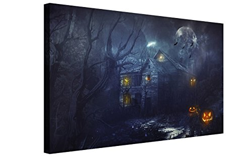 NAN Wind Golden Pumpkin Lantern Haunted Castle Haunted House in Forest Painting