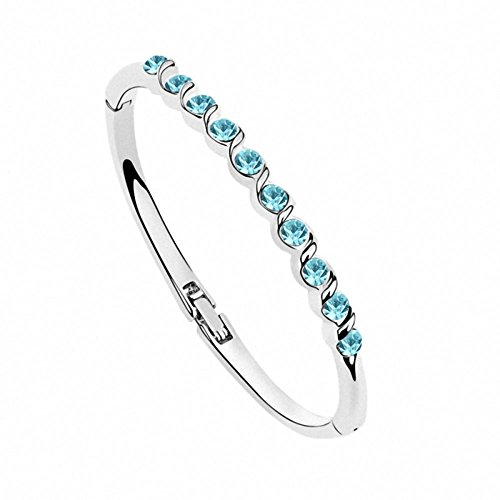 Changeable Bangle Bracelet, Aqua Blue Crystals Made with Swarovski Elements (Time Like Water)