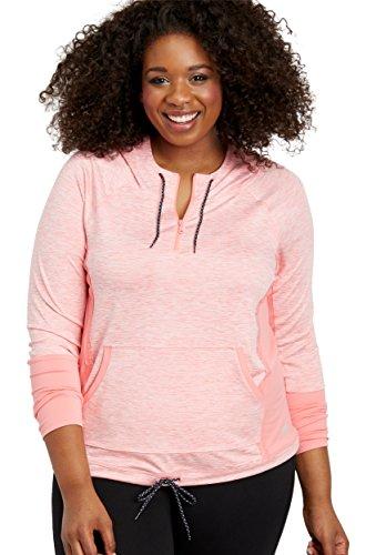 maurices Women's Plus Size Spacedye Hooded Quarter Zip Pullover Sweatshirt 2 Pink Tulip Combo (Combo Tulip)