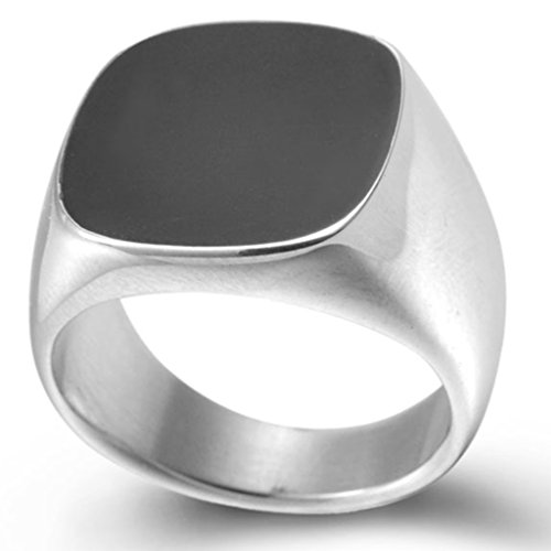 Stainless Steel Black Enamel Signet Ring (6.5) (Ring Pinky)