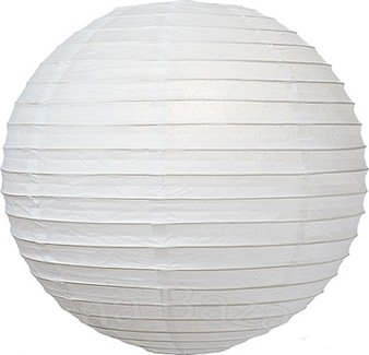 (Luna Bazaar Premium Paper Lantern, Lamp Shade (20-Inch, Parallel Ribbed, Perfect White) - Rice Paper Chinese/Japanese Hanging Decoration - for Home Decor, Parties, and Weddings)