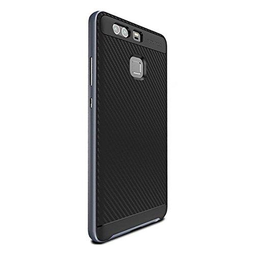SODIAL(R) Slim TPU + PC Caja del telefono para HUAWEI P9 Oro Negro