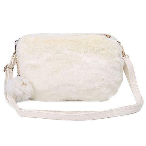 Onpiece Women Faux Fur Shoulder Bag Handbag Crossbody Tote Hobo Bags Purse (White)