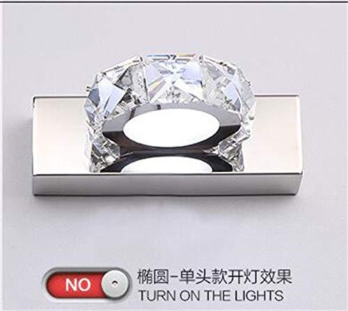 Moderne Kristall Badezimmer Led Wandleuchte Bad Spiegel Frontleuchte Wandbeleuchtung, Warmweiß, Oval, 3 Led = 9 Watt