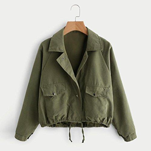 Manches Printemps Automne Casual Bouton Blouson Cardigan Fille Veste Jacket Casual Court Longues Vert Femmes Covermason Sportif d'Aviateur Femme qYZx8aOOw