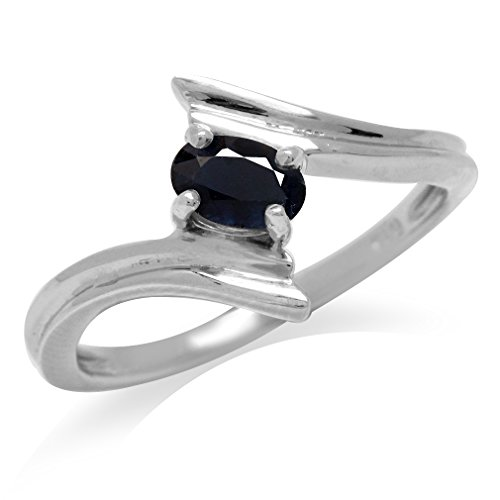 - Natural Black Sapphire White Gold Plated 925 Sterling Silver Bypass Solitaire Ring Size 7