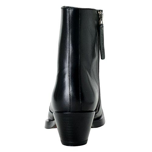 Versace Menns Sort Polert Skinn Cowboy Ankel Boots Sko Oss 10 Den 43