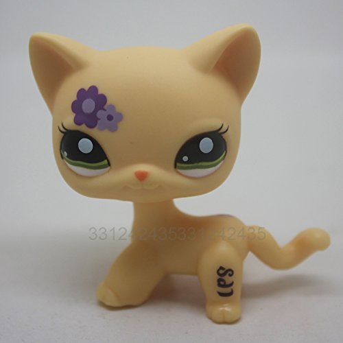 RARE Short Hair Cat kitty Yellow Purple Flowers Toy Anima...