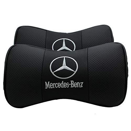 Auto Sport 2 PCS Genuine Leather Bone-Shaped Car Seat Pillow Neck Rest Headrest Comfortable Cushion Pad with Logo Pattern (Mercedes-Benz)