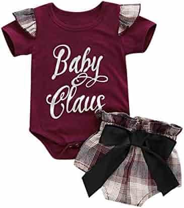 8c8f56544 MAMOWEAR Infant Girls Ruffle Short Set Baby Claus Letter Print  Romper+Bowknot Plaid Shorts Pants