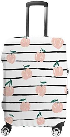スーツケースカバー トラベルケース 荷物カバー 弾性素材 傷を防ぐ ほこりや汚れを防ぐ 個性 出張 男性と女性手描きの桃の背景