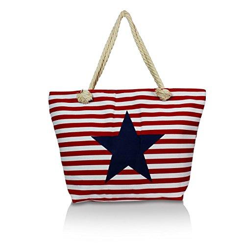 Glamexx24 Damen tasche Strandtasche in Streifen Optik mit Stern Schultertasche Shopper Rot BB