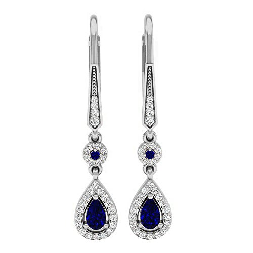 Dazzlingrock Collection 14K 5X3 MM Each Pear & Round Blue Sapphire & Diamond Ladies Halo Dangling Earrings, White Gold ()