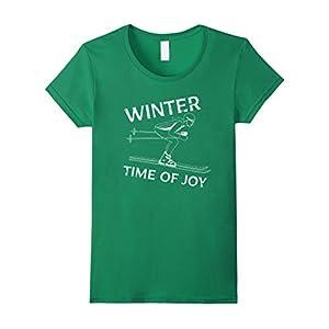 Womens Winter Time Of Joy T-Shirt. Skiing. Winter Fun. XL Kelly Green