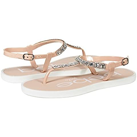 f3824ffea15f8 bebe Girls Big Kid T Strap Slingback Thong Flats Sandals With Rhinestones  Size 2 3 Blush