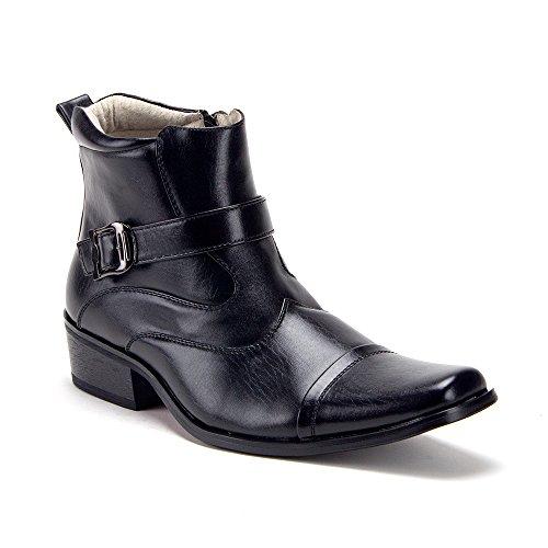12fefabcd83ec9 Men s 40126 Leather Lined Zipper Ankle High Cap Toe Dress Boots