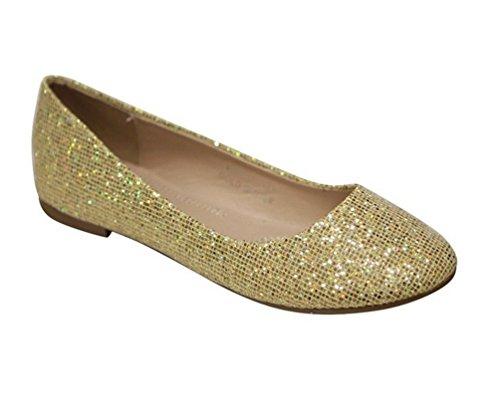 Bella Marie Stacy-12 Mujer's Round Toe Slip En Ballet Zapatos Planos Glitter Gold